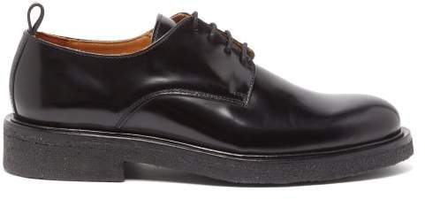 Ami Spazzolato Leather Derby Shoes - Mens - Black