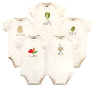 Touched by Nature Baby Boy or Girl Unisex Baby Organic Cotton Bodysuits, 5-Pack