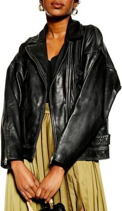 Topshop Oversize Leather Biker Jacket
