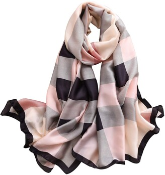 NUWEERIR Womens 100% Large Mulberry Silk Scarf Long Satin Scarf Fashion Designer Scarf Lightweight Wraps - black - One Size