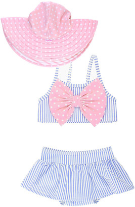 RuffleButts Girl's Seersucker Striped Skirted Bikini w/ Sun Hat, Size 3M-4T