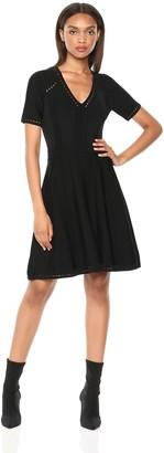 Milly Women's Knit Textured V-Neck Short Sleeve Pointelle Flare Dress