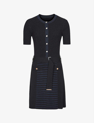 Reiss Kate belted knitted dress