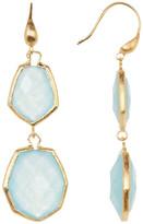 Rivka Friedman 18K Gold Clad Double Dangle Deco Design Faceted Caribbean Blue Quartzite Earrings