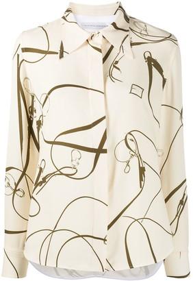 Victoria Beckham belt print long-sleeved shirt