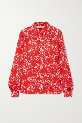 Carolina Herrera Floral-print Satin Blouse - Red