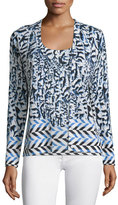 Neiman Marcus Arrow Printed Button-Front Cardigan