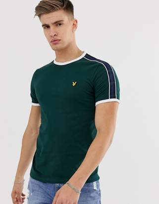 Lyle & Scott taped tartan t-shirt in green