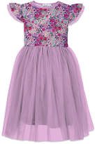 Orchid Lane Girls' Special Occasion Dresses - Lilac Floral Angel-Sleeve A-Line Dress - Toddler & Girls