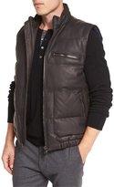 Vince Leather Down-Filled Vest, Espresso Brown