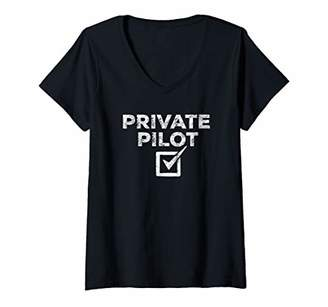Womens New Private Pilot Check Gift V-Neck T-Shirt
