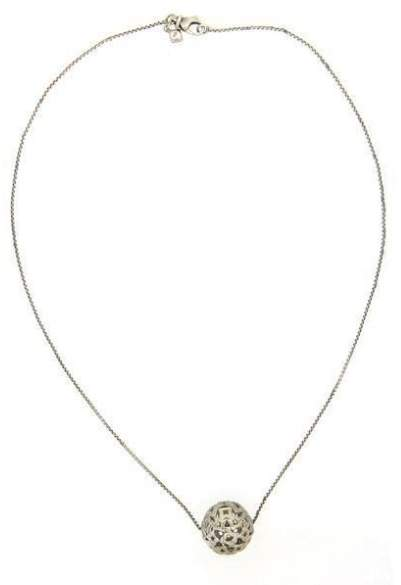 David Yurman 925 Sterling Silver with 0.25ct Pave Diamond Tapestry Quatrefoil Pendant Necklace