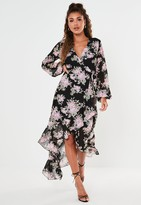 Missguided Black Floral Wrap High Low Midi Dress