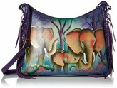 Anuschka Anna By Anna by Women's Genuine Leather Large Hobo Shoulder Bag | Hand Painted Original Artwork | Elephant Family One Size