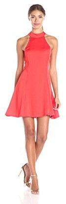 Lucca Couture Women's Washed Satin Mock Neck Fit-and-Flare Dress