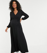 Asos DESIGN Maternity puff shoulder wrap maxi dress with high split in black