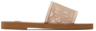 Chloé Pink Lace Woody Flat Mules