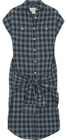 R 13 Knotted-Front Wrap Checked Cotton Dress