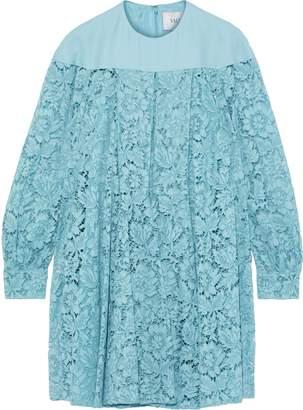 Valentino Crepe-paneled Silk-blend Corded Lace Mini Dress