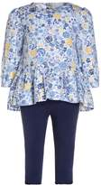 Mothercare FLORAL BLOUSE LEGGING BABY SET Tunic navy