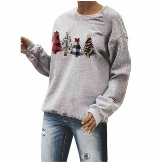 Wtouhe Women's Christmas Tree Print Sweatshirt Casual Comfort Long Sleeve Letter Loose T-Shirt Top Pullover for Women This is My Hallmark Christmas Movie Watching Shirts Party Daily Girlfriend Gift