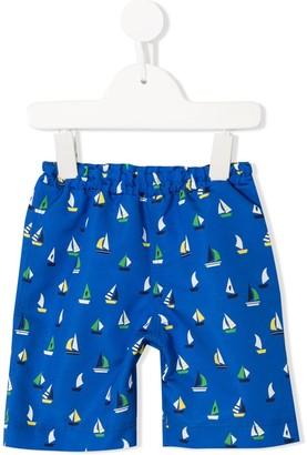 Familiar Boat Print Swim Shorts