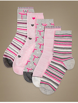 M&S Collection 5 Pair Pack Printed Ankle High Socks