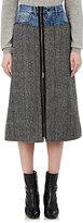 Maison Margiela Women's Denim-Inset Herringbone Wool Skirt