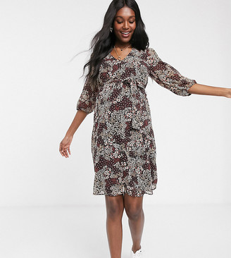 New Look Maternity tie waist midi dress in ditsy floral