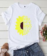 Basico Women's Tee Shirts White - White 'In a World Full of Roses' Sunflower Tee - Women & Plus