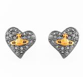 Vivienne Westwood Women's Tiny Diamante Heart Stud Earrings Black