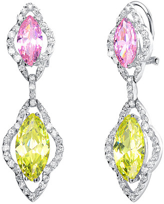Genevive Silver Cz Drop Earrings