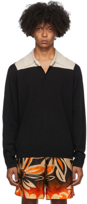 Dries Van Noten Black and Beige Block Collar Long Sleeve Polo