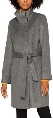 Esprit Long Zipped High-Neck Coat with Belt