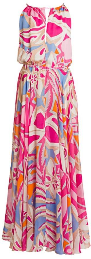Emilio Pucci Silk Chiffon Halter Maxi Dress