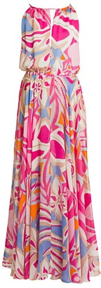 Emilio Pucci Silk Chiffon Halter Maxi Dress