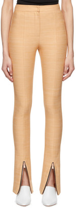 ANDERSSON BELL Beige Flared Zipper Trousers