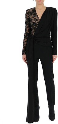 Givenchy Lace Draped V Neck Jumpsuit