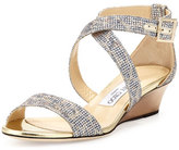 Jimmy Choo Chiara Glitter Demi-Wedge Sandal