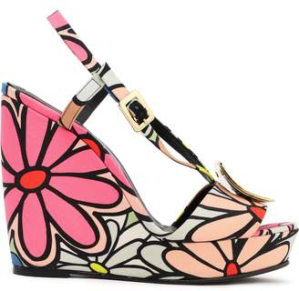 Roger Vivier Buckle-embellished Floral-print Canvas Wedge Sandals