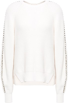 Joie Embellished Cotton And Cashmere-blend Sweater
