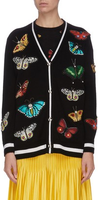Alice + Olivia 'Bradford' butterfly embroidered grandpa cardigan