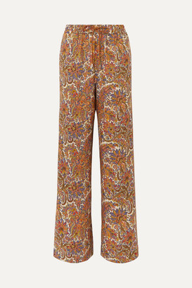 Etro Paisley-print Wool And Silk-blend Straight-leg Pants - Beige