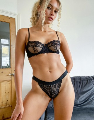 Topshop lace tanga thong in black