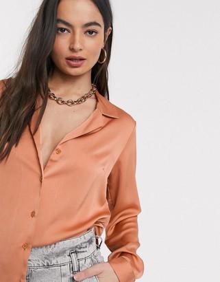 Asos DESIGN relaxed satin long sleeve shirt in peachy tan