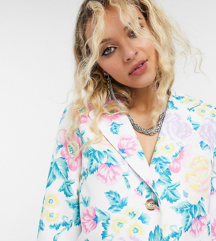Reclaimed Vintage inspired blazer co-ord in floral print