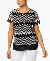 Alfred Dunner Petite Lace It Up Chevron Top