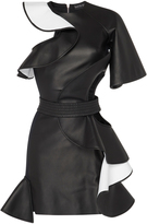 David Koma Cutout Ruffled Leather Dress