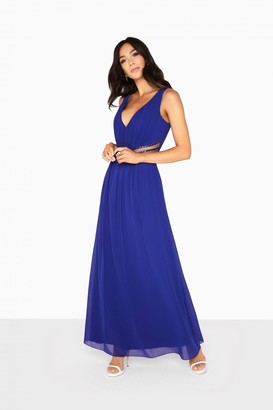 Little Mistress Zoe Plunge Maxi Dress With Jewel Waist