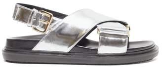 Marni Fussbett Metallic Leather Slingback Sandals - Womens - Silver